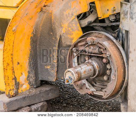 Exposed Rusty Break Shoe Assembly
