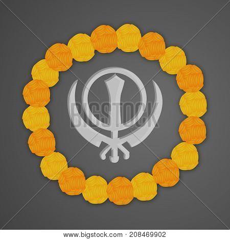 illustration of Sikhism symbol and decoration on the occasion of Sikh Festival Guru Nanak Jayanti. Guru Nanak Jayanti, celebrates the birth of the first Sikh Guru, Guru Nanak.
