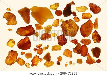 Amber in different colors on a white background