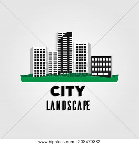 City urban landscape in flat modern style with long shadow. White paper origami vector illustration. Green grass business skyscraper design. Simple office icon. Digital cityscape template view.