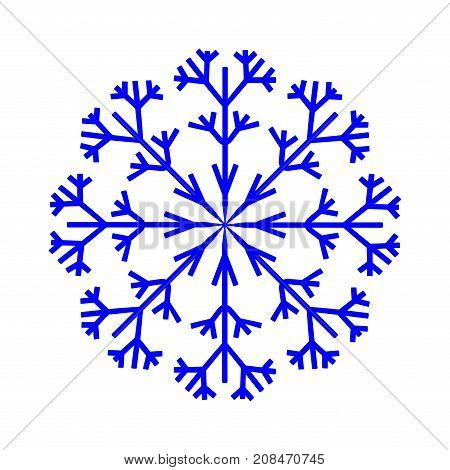 Snowflake sign. Image of snow season. Winter design. Blue ice icon isolated on white background. Cold ornament symbol. Logo for christmas or frozen celebration. Stock vector illustration