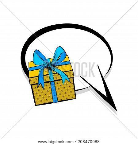 Comics book dialog empty cloud cartoon pop-art. Creative idea conversation sketch. Gift box birthday picture blank template pop art style comic text speech bubble halftone dot background.