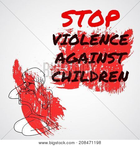 Infographics Advertising Banner Poster Menu Template. Stop Violence Against Children. Red Paint Desi