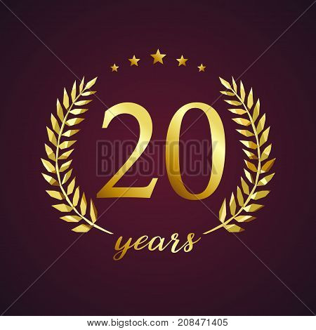 20 years old luxurious logotype. Congratulating 20th, 2nd numbers in circle of palms, cup template. Isolated sign greetings symbol, celebrating traditional stained-glass decorative retro style ear.