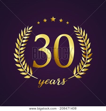 30 years old luxurious logotype. Congratulating 30th, 3rd numbers in circle of palms, cup template. Isolated sign greetings symbol, celebrating traditional stained-glass decorative retro style ear.