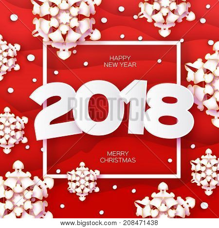 2018 Happy New Year Background. Red Greetings Card for Christmas invitations. Paper cut snow flake. Paper cut Winter snowflakes Square frame. Text. Origami Mountains. Landscape. Vector illustration.