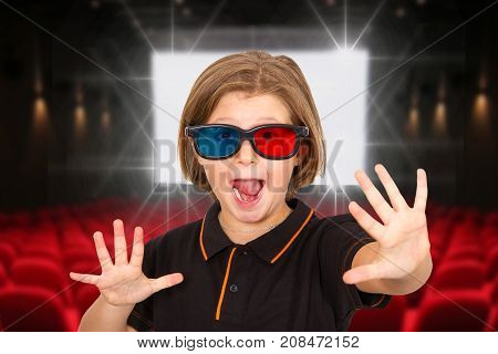 young girl screaming wearing 3d glasses in a cinema
