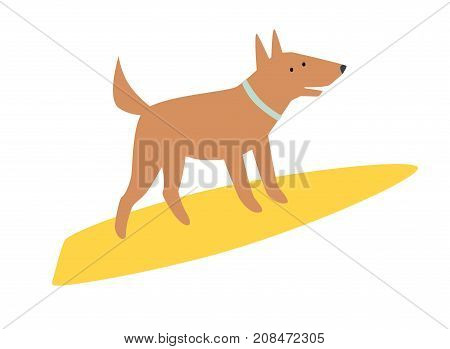 Dog surfers vector cartoon illustrations. Card with funny dog. Dogs breeds on surfboard. Isolated on white
