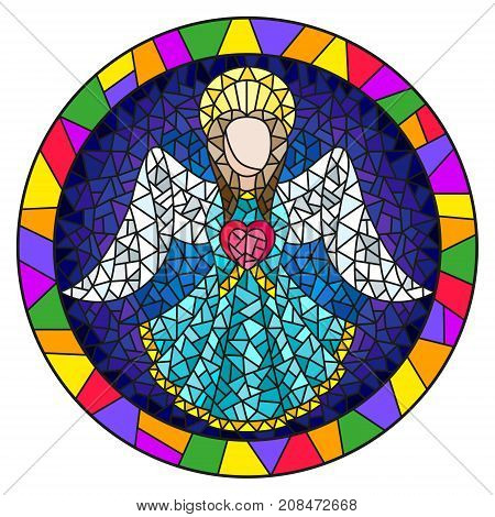 Illustration in stained glass style with an abstract angel in blue robe with a heart round picture frame in bright