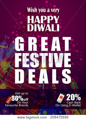 Colorful Firecracker on Happy Diwali night celebrating holiday of India festive deal promotion background. Vector illustration