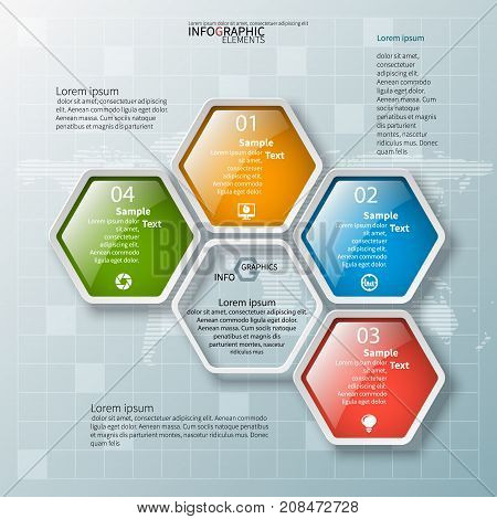 vector abstract 3d paper infographic elements.Hexagon infographics.Honeycomb design.Glass colored hexagons