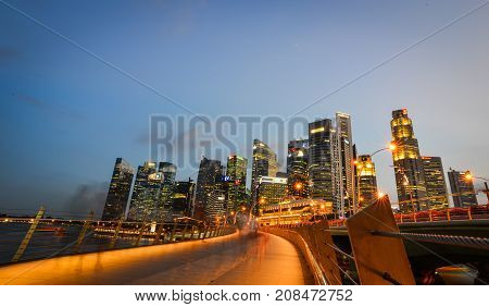Night View Of Marina Bay, Singapore