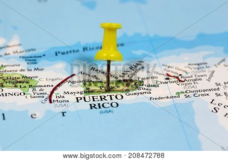Map with pin point of Puerto Rico in Caribbean