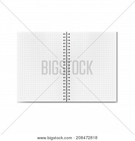 Vector opened realistic graph or quad ruled notebook. Blank lined pages textbook on ring spiral binder mock-up or template