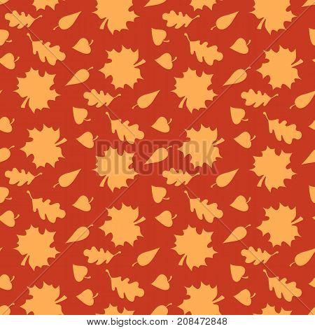 Vector illustration of autumn leaves. Autumn background. Endless seamless pattern