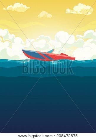 Sea illustration of red boat in dawn. Flat vector illustration