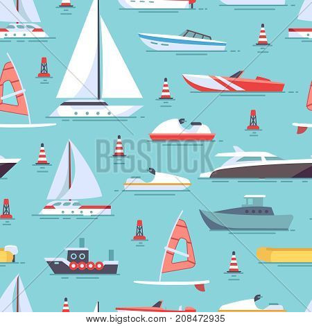 Sailboats and colored boats seamless pattern design background. Vector illustration