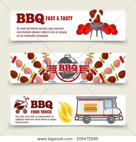 BBQ and steak horizontal banners template. Meat, barbecue and a food truck on a white background. Vector set banner illustration