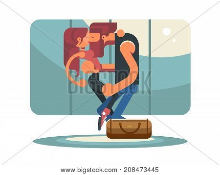 Happy couple kissing in elevator. People man and woman passionately kiss. Vector illustration