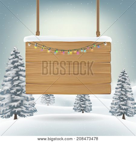 christmas hanging wood board sign on snow