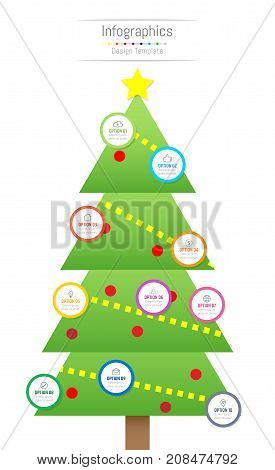 Infographic design elements for your business data with 10 options parts steps timelines or processes. Christmas tree concept Vector Illustration.