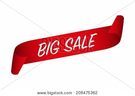 Vector Big Sale banner red curled paper ribbon with a big sale label isolated on a white background
