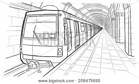 Hand drawn ink line sketch Saint Petersburg subway station train in outline style perspective view.