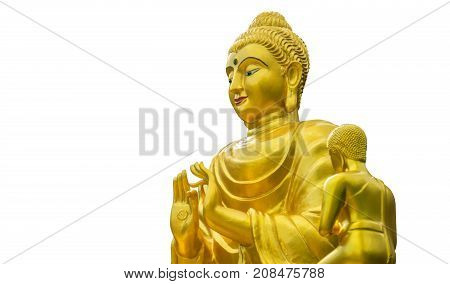 Golden Buddha statue isolated on white background with clipping path