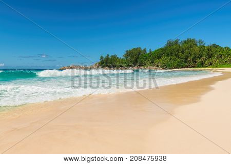 Untouched tropical beach in Seychelles. Holiday and vacation concept.