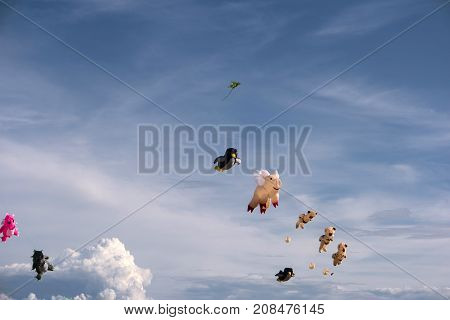 Colorful Kites in the Air with Clouds