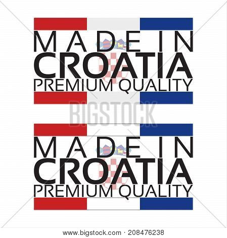 Made in Croatia icon premium quality sticker with Croatian colors vector illustration isolated on white background