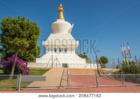 Stupa in Benalmadena near Malaga in the Andalusian region of southern Spain.