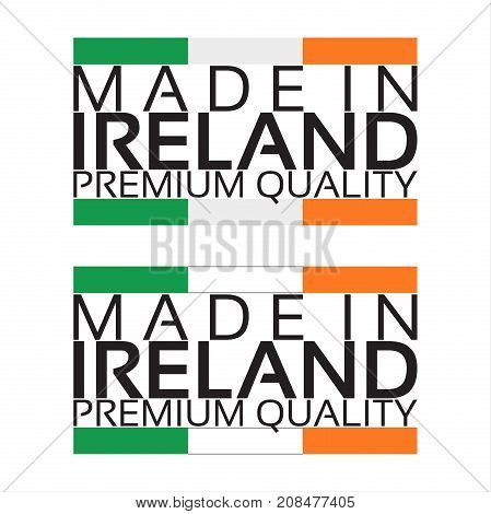 Made in Ireland icon premium quality sticker with Irish colors vector illustration isolated on white background