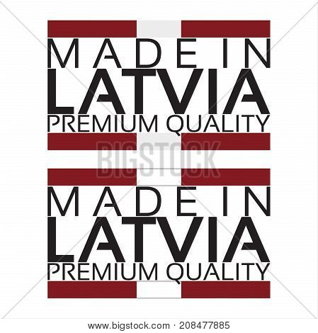 Made in Latvia icon premium quality sticker with Latvian colors vector illustration isolated on white background
