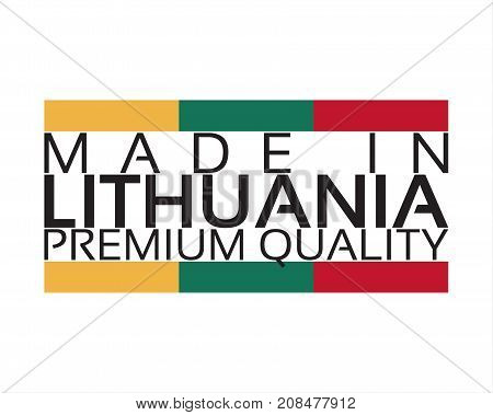 Made in Lithuania icon premium quality sticker with Lithuanian colors vector illustration isolated on white background
