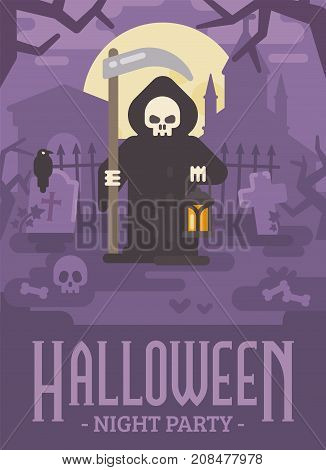 Halloween Poster Illustration Of Grim Reaper With A Scythe And A Lantern On An Old Cemetery At Night