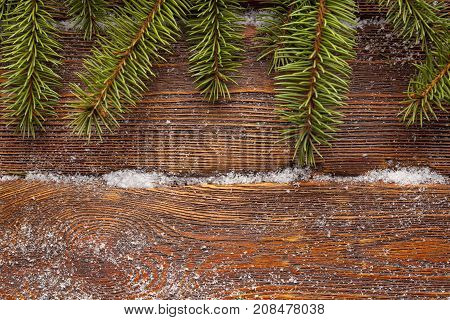 Christmas Background - Spruce Tree On Wooden Wall Background