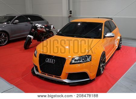 CRACOW POLAND - MAY 20 2017: Engine tuning Audi displayed at 3rd edition of MOTO SHOW in Krakow. Poland. Exhibitors present most interesting aspects of the automotive industry