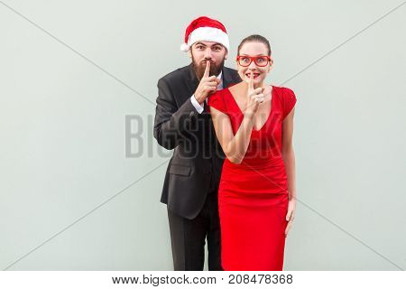 Shh Sign. Big Secret, Shut Up! Well Dressed Businessman And Woman Looking At Camera And Showing Quie