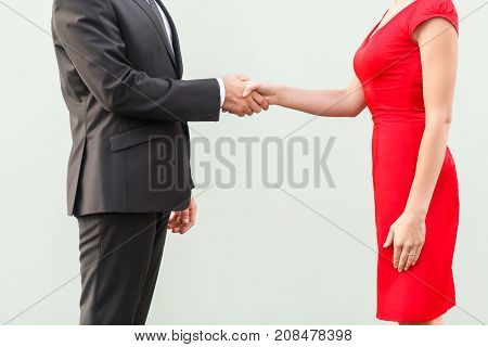 Anonym Deal. Handshake, Celebrate Cooperation. Well Dressed Business Person