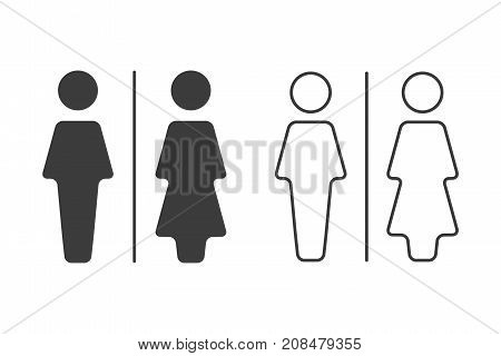 Simple grey and white wc symbols vector restroom illustration man and woman icons isolated on a white background