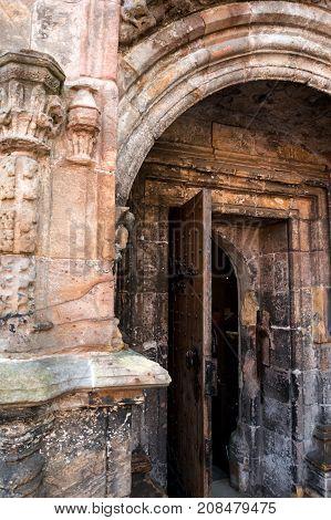 door of a  gothic chapel in scotland
