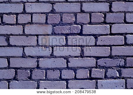 Old Rough Blue Color Brick Wall Pattern.