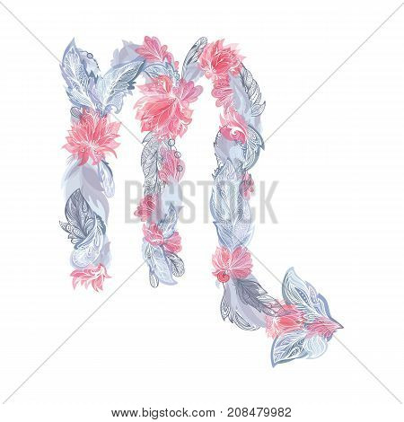 Boho decadence style scorpion astrological symbol made of grey feathers and red flowers