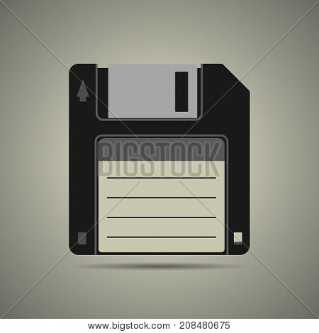 Magnetic floppy disc icon in flat style isolated web icon black and white colors