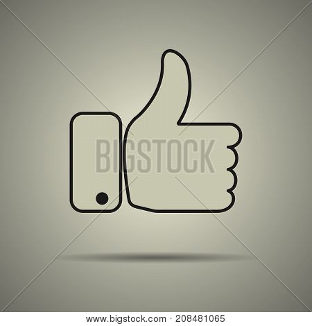 Thumbs up icon like icon flat style black and white colors isolated web icon