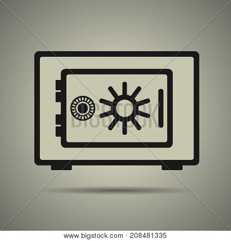 Safe icon in flat style with black and white colors isolated web icon