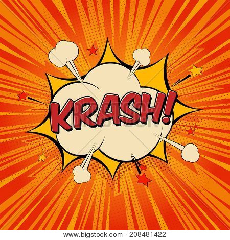Krash comic text speech bubble. Sound effect bang cloud icon of color phrase lettering. Cartoon vector illustration on red background.