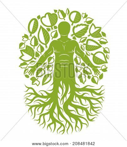 Vector human individuality created with tree roots and surrounded by eco green leaves. Family tree tree of life conceptual graphic illustration.
