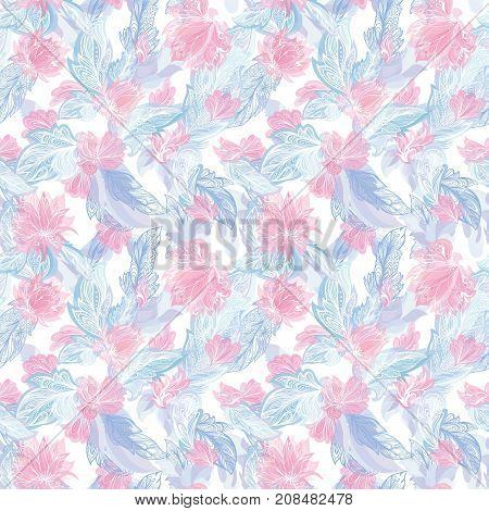 Seamless tender texture with doodle ornamental flowers and tribal elements in pastel pink and blue colors on white background